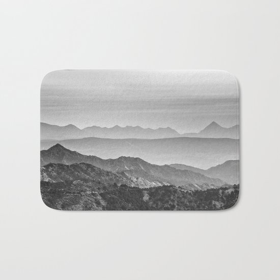 """Mountain dreams"". At sunset. BW Bath Mat"