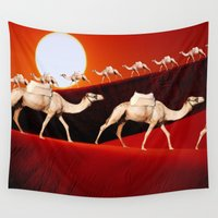 camel Wall Tapestries featuring Camel Train by Inspired Images