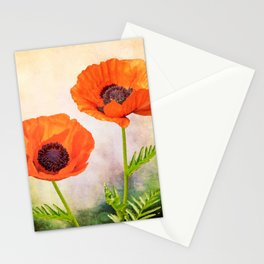 Two beautiful poppies with textures Stationery Cards