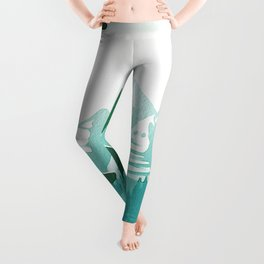 View from 217 - Vintage Inspired Mid Century Style Watercolor Landscape Snow Mountain Leggings