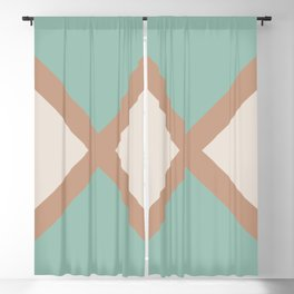 Brown Cream Green Minimal Diagonal Line Pattern 2021 Color of the Year Canyon Dusk & Accent Shades Blackout Curtain