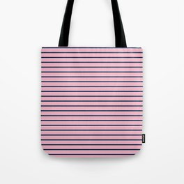 Pink and Navy Blue Horizontal Stripes Tote Bag