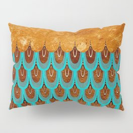 Copper Metal Foil and Aqua Mermaid Scales- Abstract glitter pattern Pillow Sham