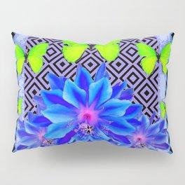 Lime Green Butterflies Blue Tropical Flower Graphic Art Pillow Sham