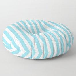 Ocean Blue and White Cabana Stripes Palm Beach Preppy Floor Pillow