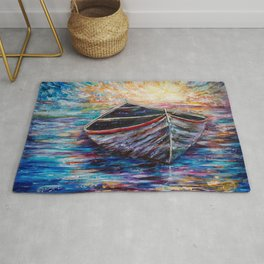Wooden Boat at Sunrise my Painting with a Palette Knife Rug