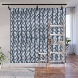 Knit Wave Navy Wall Mural