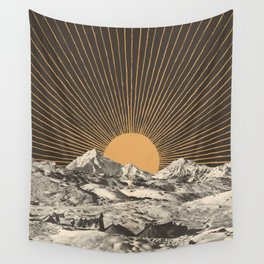 Mountainscape 6 - Night Sun Wall Tapestry