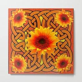 Brown & Gold Celtic Sunflowers Garden Design Pattern Metal Print