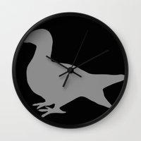 pigeon Wall Clocks featuring Pigeon by Giorgio Smiroldo - giorgiosmiroldo.com