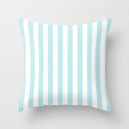 Striped- Turquoise vertikal stripes on white - Maritime Summer Beach Throw Pillow
