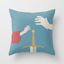 The sword in the stone, minimalist movie poster, animated film, King Arthur, Merlin, retro playbill Throw Pillow