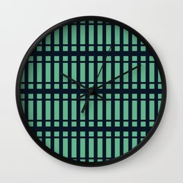 Blue Vertical Lined Stripes And Squares Wall Clock