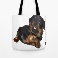rottweiler Tote Bags featuring Cute Rottweiler Puppy Vector by taiche