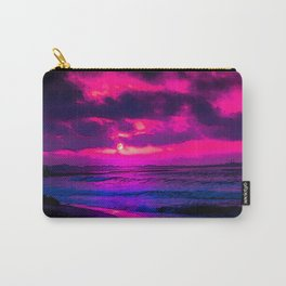 Mesmerizing Midnight Moon by the Beach painting nature artistic photography breathtaking beautiful sea crimson sky gorgeous home decor interior design Carry-All Pouch