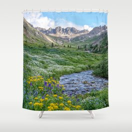 AMERICAN BASIN COLORADO MOUNTAIN SUMMER LANDSCAPE PHOTOGRAPHY Shower Curtain