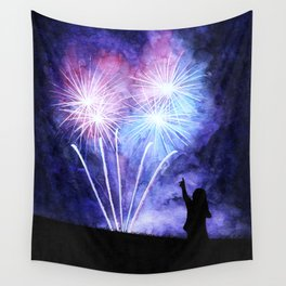 Blue and pink fireworks Wall Tapestry