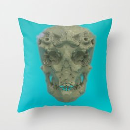 Skull Coral Reef Throw Pillow