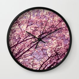 Pink Lavender Blossoms. Wall Clock