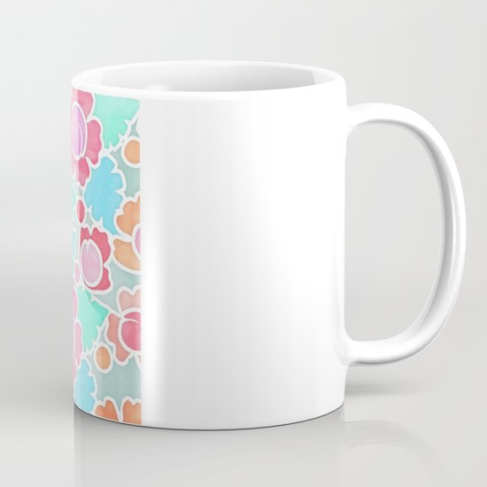 Pastel Tropical Floral Pattern Design with watercolor texture Mug
