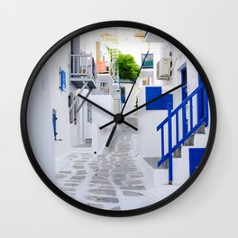 Beautiful Whitewashed Street Mykonos Greece Wall Clock
