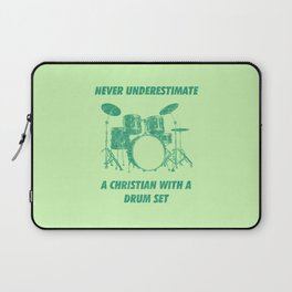 Never Underestimate A Christian With A Drum Set Funny Drums Vintage Drummer Distressed Laptop Sleeve