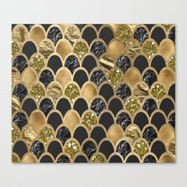 Ebony ink - golden mermaid scales Canvas Print