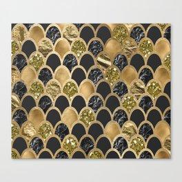 Ebony ink - golden mermaid scales Canvas Print