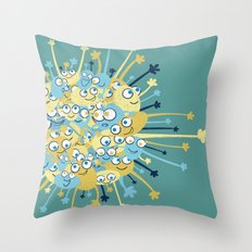 Bubbly Creatures Print Throw Pillow