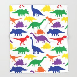 Dinosaurs - White Throw Blanket
