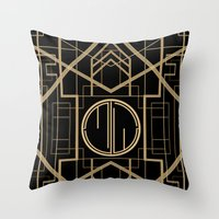 the great gatsby Throw Pillows featuring MJW- GREAT GATSBY STYLE by MATT WARING