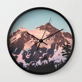 Pink Cascade Mountain Wall Clock