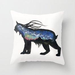 Aurora Milky Way Lynx. Throw Pillow
