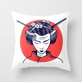 Japanese Woman Girl Girl Gift Throw Pillow