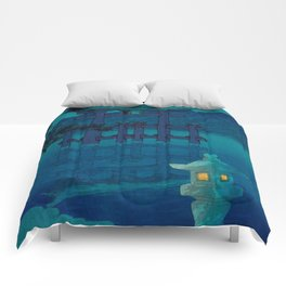 Japanese Woodblock print Torii In The Lake During Night Blue Monochromatic Comforters