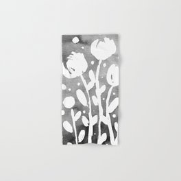 Whimsical watercolor flowers – black and white Hand & Bath Towel