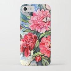watercolor peonies iPhone 7 Slim Case