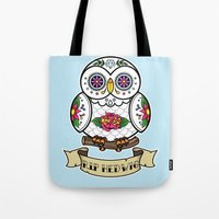 hedwig Tote Bags featuring Hedwig Sugar Skull by Artpunk101