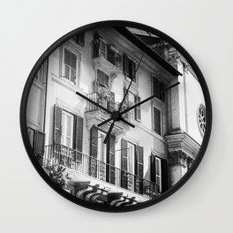 The romantic windows of Rome | Italy | Black & White | Travel & Street Photography | Photo Print | Art Print Wall Clock