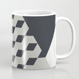 Gradient Cubes – Ebony Black / Warm Gray Abstract Print Coffee Mug