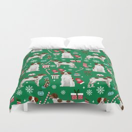 Brittany Spaniel christmas pattern dog breed presents stockings candy canes Duvet Cover