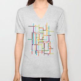 The map (after Mondrian) Unisex V-Neck