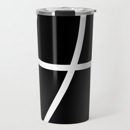 NEGATIVE white abstract lines on solid black background Travel Mug