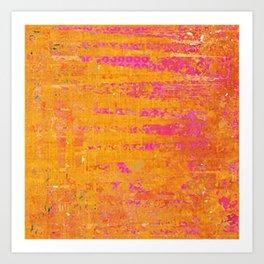 Orange & Hot Pink Abstract Art Collage Art Print
