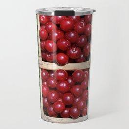Harvesting Prunus cerasus sour cherrys fruit Travel Mug