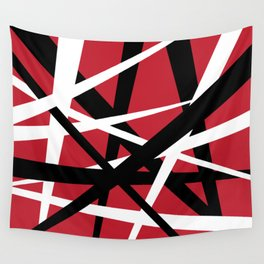 Red White and Black Abstract Stripes Wall Tapestry