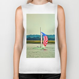 US Flag Sailboat Biker Tank