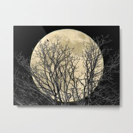 Tree with Crow Against Full Moon A181 Metal Print