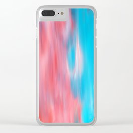 Abstract modern artsy coral teal aqua brushstrokes Clear iPhone Case