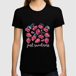 Cherries, berries and strawberries // pink background red fruits T-shirt